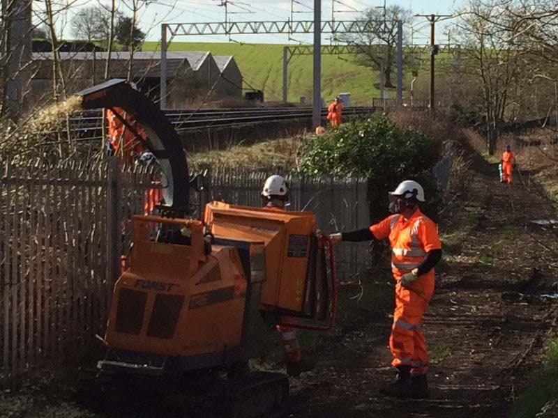 Forst TR6 tracked chipper working on West Coast Mainline PSU project