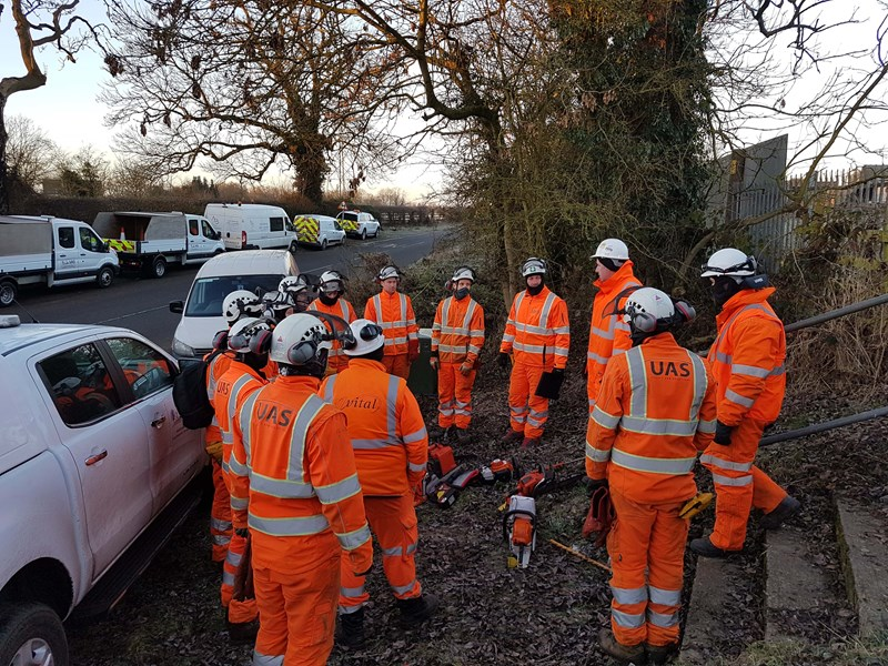 UAS Ltd cutting teams and rail safety critical staff undertake a safety brief prior to entering a worksite on the West Coast Mainline.